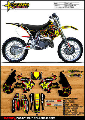 Team Rockstar Suzuki Motocross Graphics Rm 125-250 1999-2000 Dirt Bike Graphics
