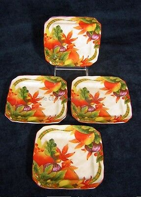 222 Fifth China Autumn Celebration Harvest NEW! Set/ 4 Appetizer Snack Plates on Rummage