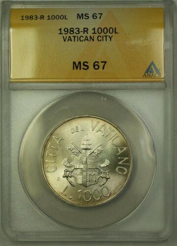 1983-R Vatican City Silver 1000 Lire Coin ANACS MS 67 KM#176