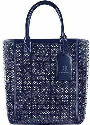 NWT! TORY BURCH Fretwork Navy Blue Lace Perforated Patent Shopper Tote Beach Bag
