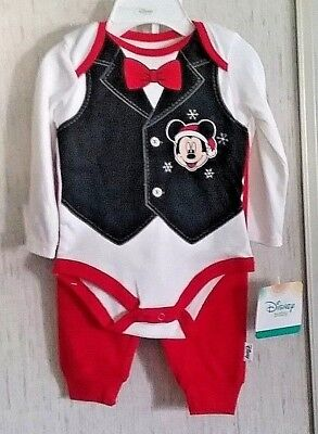 Disney Baby Mickey Mouse Santa Christmas Outfit 3 Piece Set Cute New With Tags  (Cute Santa Outfit)