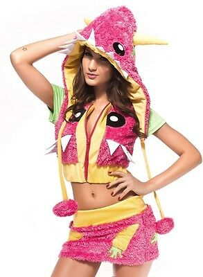 Deluxe Funky Bunte Monster Damen Frauen Verkleiden Rosa & Gelb - Monster Kostüm Frauen
