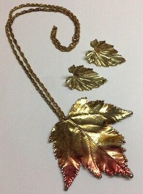 Vintage Gold Tone Leaf blushed with red of Fall Necklace & Pierced earrings