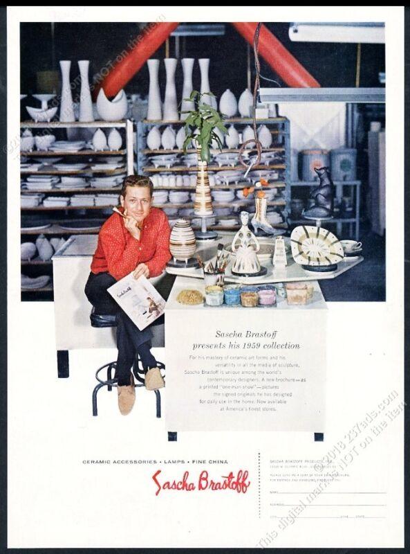 1959 Sascha Brastoff photo in workship with vase plate etc vintage print ad
