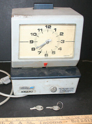 Retro Amano Time Clock Heavy Duty Collector With Keys Model 3606