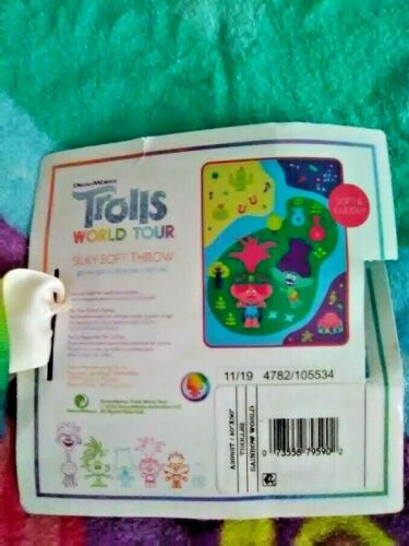Trolls World Tour Kids Silky Soft Throw Blanket Rainbow World New