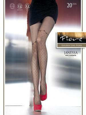 FIORE JANESSA POLKA DOT TO ABOVE KNEE TIGHTS PANTYHOSE BLACK 3 SIZES