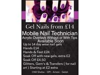 Mobile Nail Technician - Prices from £11 - Gels -CND Shellac - Gelish - OPI - Acrylics -Extensions