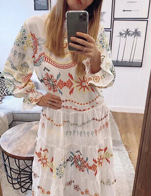 ZARA NEW WOMAN LONG EMBROIDERED DRESS RUFFLE OYSTER WHITE XS 4786/083 Fits Smlal