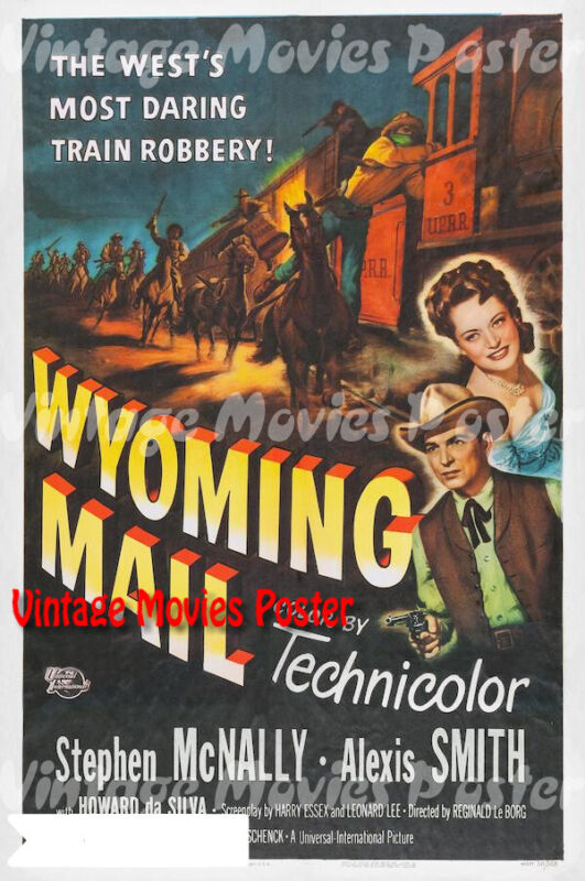 Wyoming+Mail+1950+Repro+Reproduction+Print+US+Western+Poster+Reginald+Le+Borg