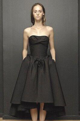 DAVID SZETO Black Strapless Bustier Bow Hi Low Dress 38 0 2