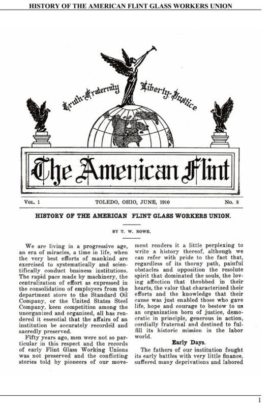 American Flint Glass Workers Union history 1853-1910