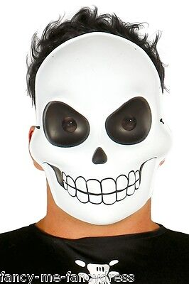 Mens Ladies White Skeleton Halloween Face Mask Fancy Dress Costume Outfit (White Mask Halloween Outfit)