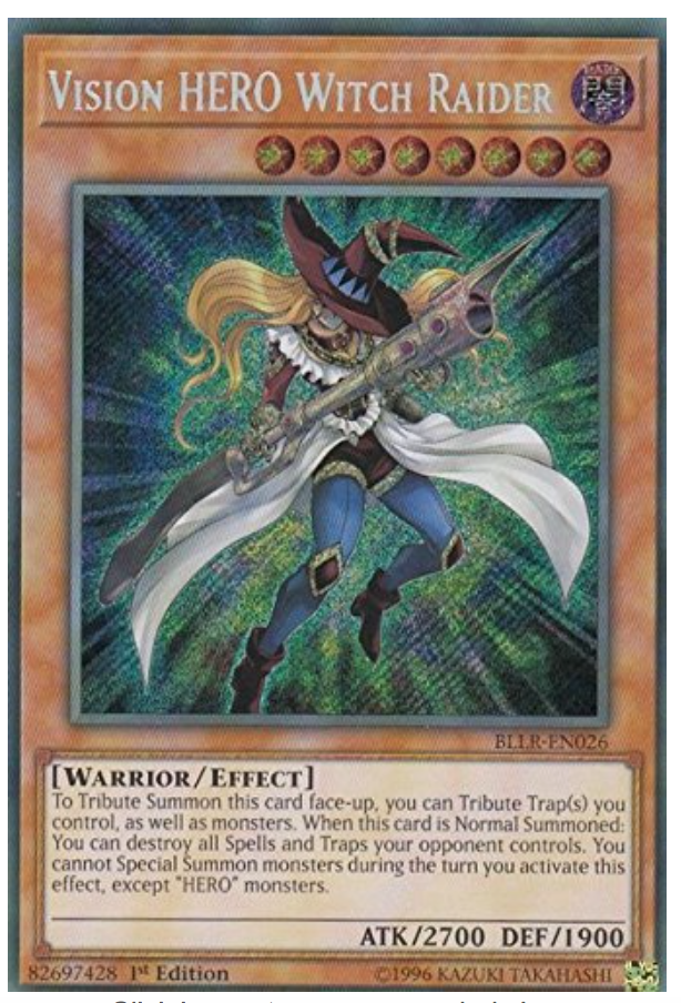 1st Edition Near Mi BLLR-EN026 YuGiOh Vision HERO Witch Raider Secret Rare