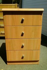 Beech effect 4 drawer chest