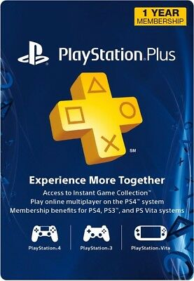 Sony Psn Playstation Plus 1 Year 12 Months Membership Prepaid Card   Digital