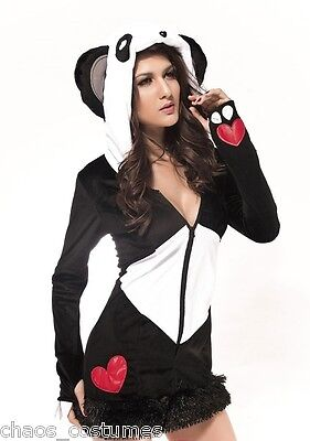 Snow Bunny Panda Care Bear Animal Fancy Dress Adult Halloween Costume 8 10 12](Womens Panda Bear Halloween Costume)