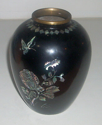 "Vintage 5"" Asian Brass Enamel Abalone Inlay Floral Butterfly Vase"