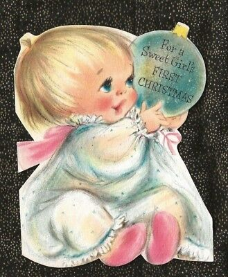 Babys First Christmas Card - HALLMARK BABY GIRL FIRST CHRISTMAS Card Glittered Ornament Blonde Hair Blue Eyes