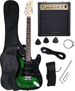Crescent-GREEN-BLACK-Electric-Guitar-15w-AMP-Strap-Cord-Gigbag-NEW