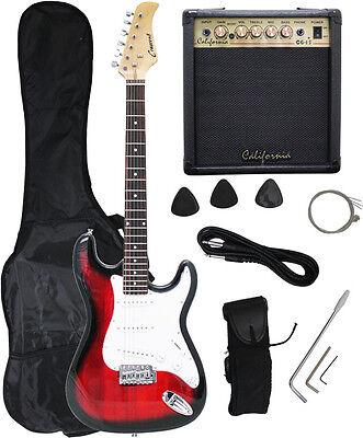 Crescent REDBURST Electric Guitar+15w AMP+Strap+Cord+Gigbag