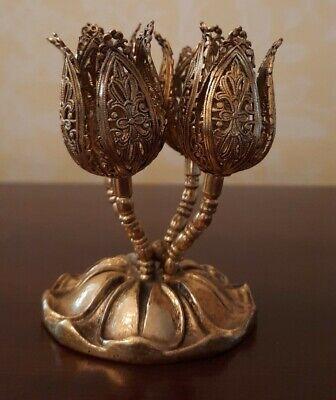 Vintage Filigree Ormolu Lipstick Holder 4 Gold Tulips