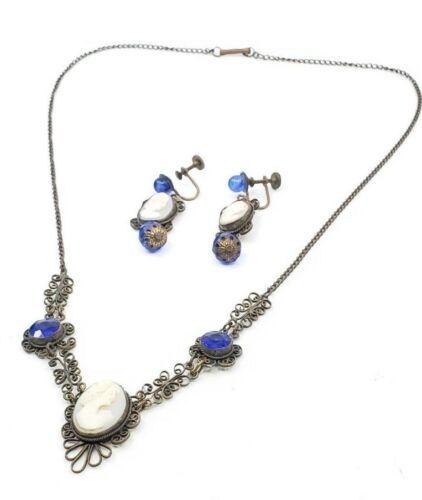 Antique Victorian Cameo Necklace Filigree w Cameo Dangle Earrings Set Parure