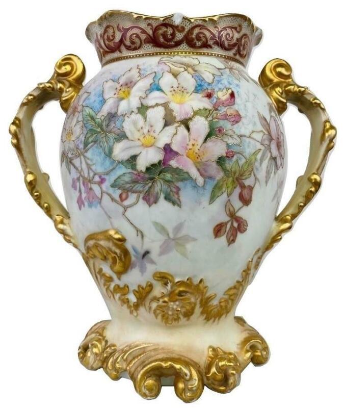 Antique Limoges Jean Pouyat Rococo Art Nouveau Painted Porcelain Floral Vase Urn