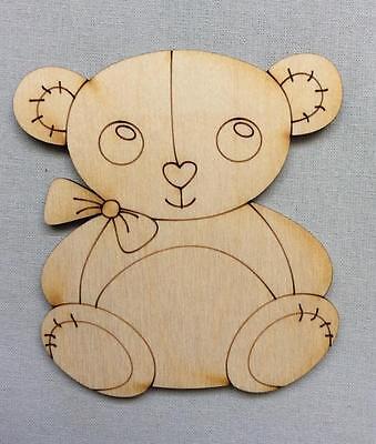 10x Teddy Bär blank Form Holz Basteln Malen Dekoration Wohnen (Teddy Bär Form)