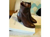 Women's brown leather ankle boots - size 6 / 39 - Topshop