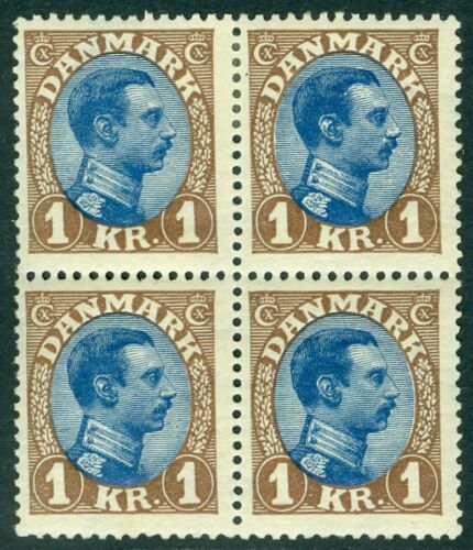 picture of DENMARK : 1922. Scott #128 PO Fresh VF MOG Blk of 4. Bottom 2 stamps NH Cat $325