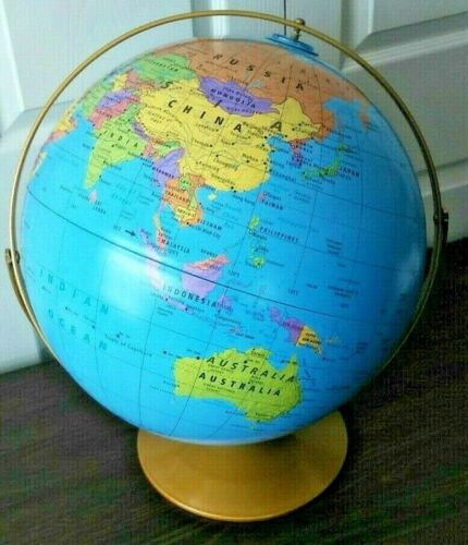 """New 16"""" Rand McNally Elevations World Globe Classroom Grade US 6 7 8 9 10 11 12+"""