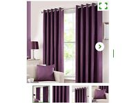 Aubergine thermal lined curtains