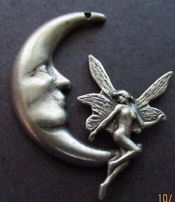 Man in the Moon with Naked Fairy Wings Sold as a Pair Lunar - Jewelry New - The Moon Fairy