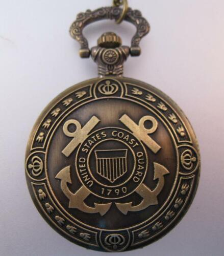 Vintage Style Coast Guard Pocket Watch & Chain Necklace Gifts for Him