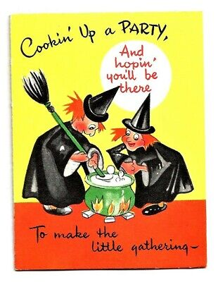 VINTAGE Gibson 1950's HALLOWEEN Party Invitation Card WITCHES at CAULDRON, GHOST
