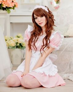 Tame Pink Japanese Maid Party Costume French Waitress Outfit Uniform Fancy Dress