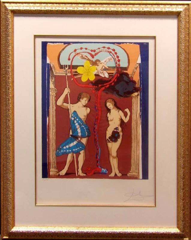 "Salvador Dali""triumph Of Love-judgement-the Lovers""lithograph Art Hand Signed"