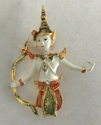 Asian Thai Art Gold Tone and Rhinestone Goddess Brooch Pin in Display Box Preown