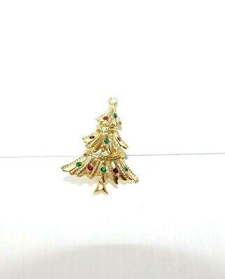 Vintage Multi Colored Rhinestone and Metal Christmas Tree Brooch / Pin