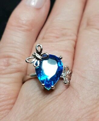 Blue Topaz Butterfly Ring - New Swiss Blue Topaz Silver Ring with 2 Butterfly accents sz 7! Last one!