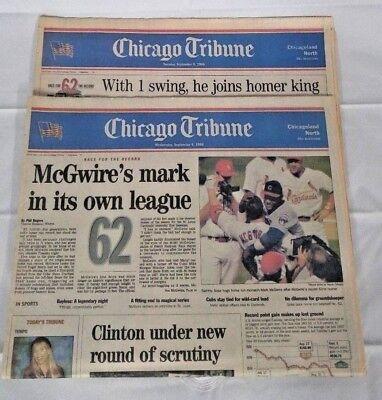 Chicago Tribune  Sosa  Mcgwire  2  Newspapers   September 8   9  1998