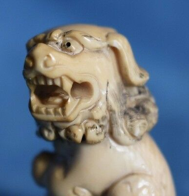 Antique Carved Japanese Stag Horn Antler Signed Okimono Netsuke Temple Lion Dog