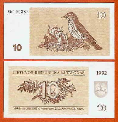 P40  Litauen / Lithunia  10  Talonas  1992  UNC