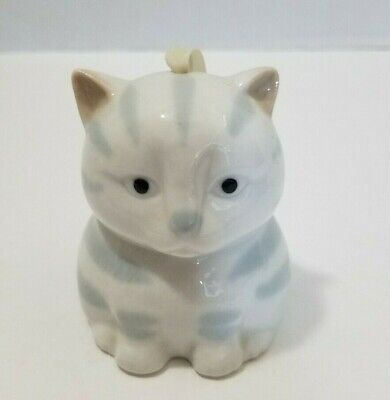 Ceramic Porcelain Hanging White & Gray Striped Cat Potpourri Holder with Stopper