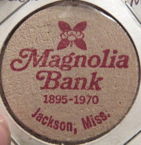 1970 Magnolia Bank Jackson, MS Wooden Nickel - Token Mississippi #1 Red