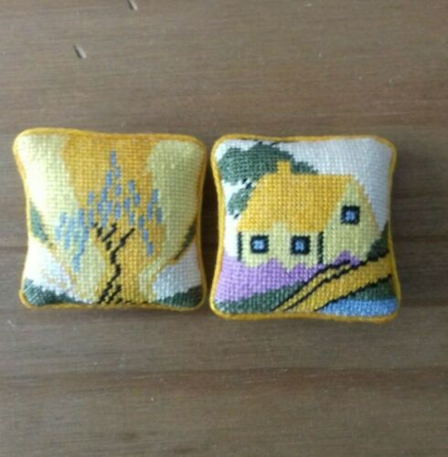 2  lovely handstitched petit point  clarise cliff style cushions