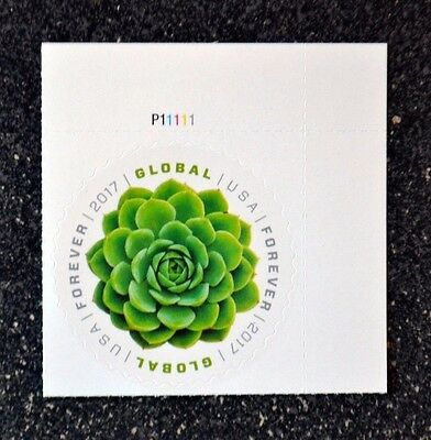 2017Usa Global Forever Rate   Succulent Green    Plate Number Single  Mint
