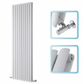 WHITE VERTICAL DOUBLE OVAL TUBED RADIATOR 1780 X 590 MM - NEW