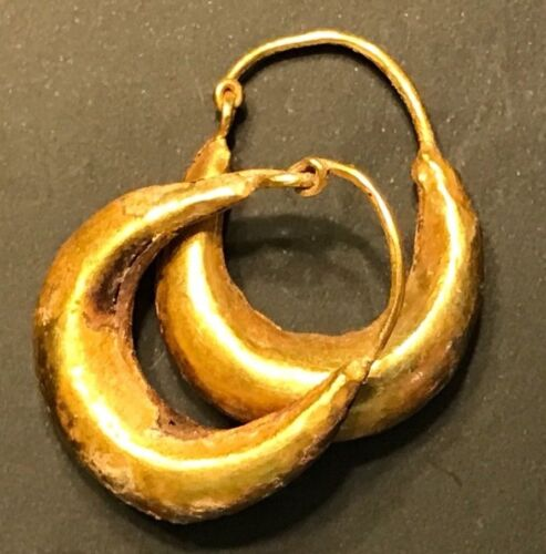ANCIENT ROMAN-BYZANTINE GOLD HOOP EARRINGS! CHARMING PAIR!